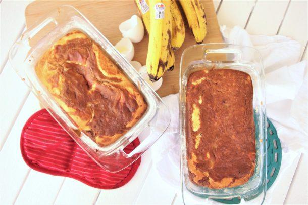 Easy Cream Cheese Swirled Banana Dessert Bread with Greek Yogurt Recipe - so moist and yummy - by Dreaming in DIY