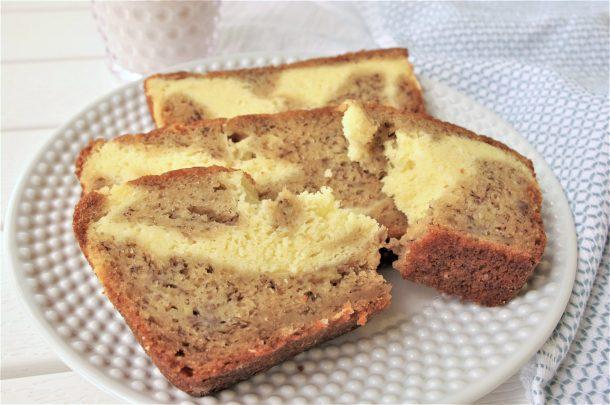 Easy Cream Cheese Swirly Banana Dessert Bread with Greek Yogurt Recipe plated - so moist and yummy - by Dreaming in DIY
