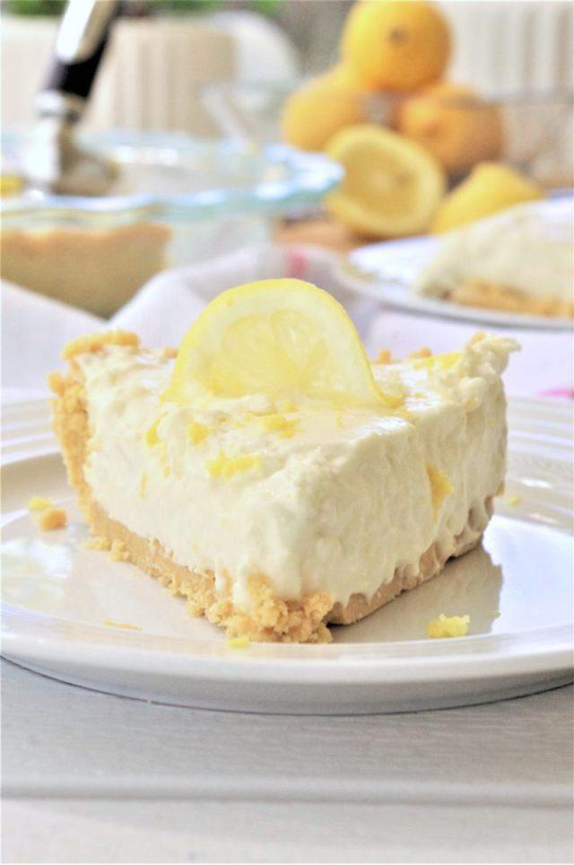 Easy No Bake Lemon Cheesecake Ice Box Pie With Oreo Crust Dessert Recipe Served Via