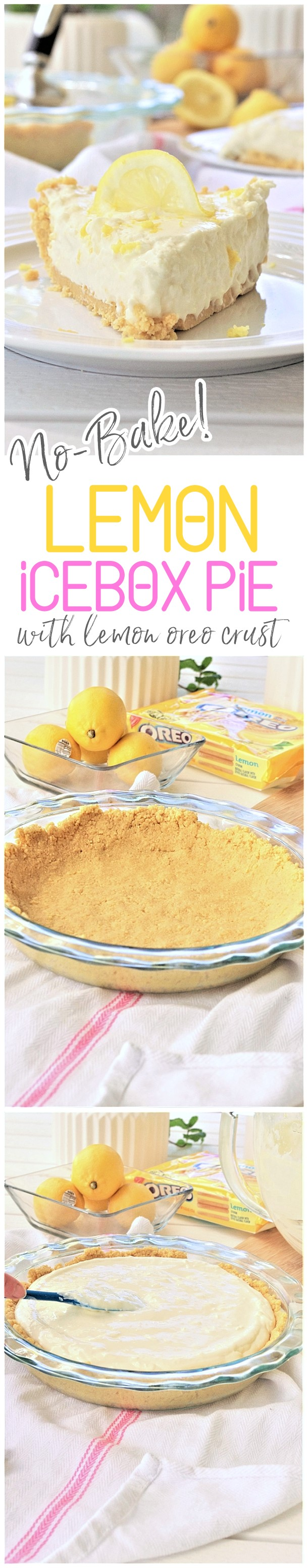 No Bake Lemon Oreo Crust Lemon Cheesecake Icebox Pie Pretty, Easy, Quick and Yummy Dessert Recipe - perfect for Mother's Day Brunch and Easter Dinners or any Spring or Summer Dinner or Holiday Party via Dreaming in DIY #lemondesserts #lemonrecipes #easylemonrecipes #lemon #lemontreats #easterdesserts #mothersdaydesserts #springdesserts #holidaydesserts #summerdesserts