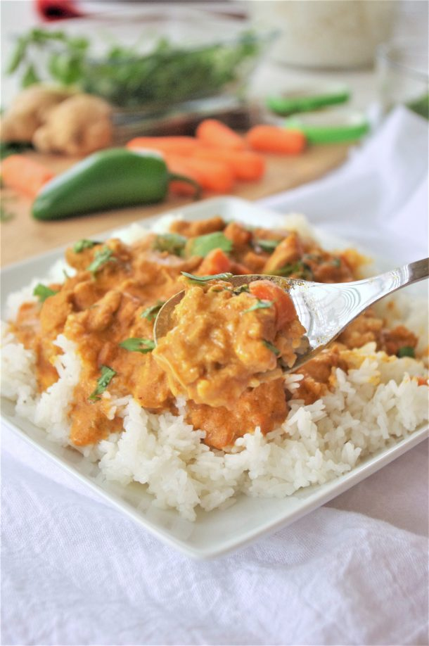 The BEST Easy Crock Pot Coconut Curry Chicken Family Dinner Recipe - Yummy Slow Cooker Meal by Dreaming in DIY