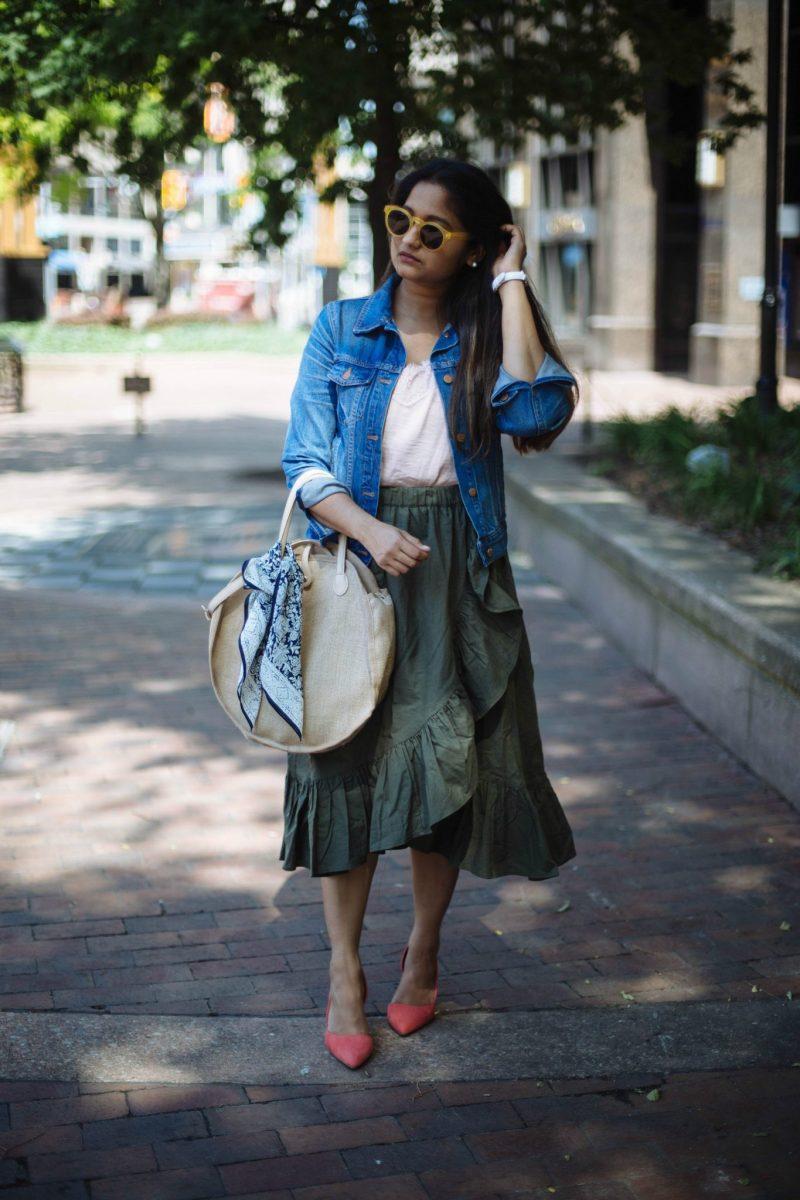 how-to-wear-ruffle-wrap-skirt