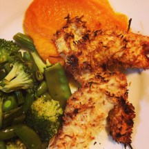 Coconut Chicken Nuggets with pumpkin puree and lemony vegetables.