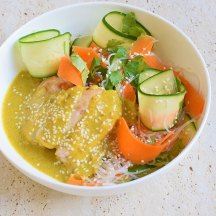 Satay Chicken with Carrot and Cucumber Noodle Salad