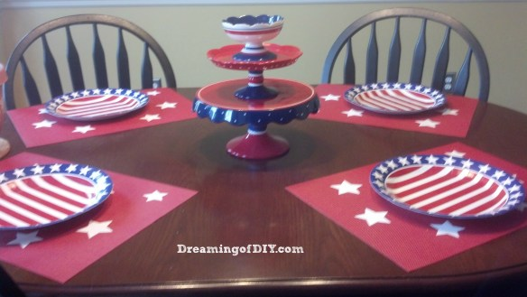 kitchen table, red, white, blue