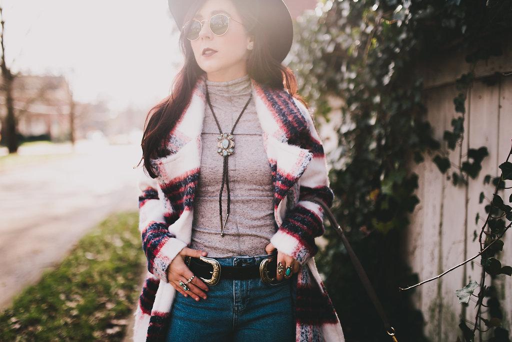 plaid coat & mom jeans