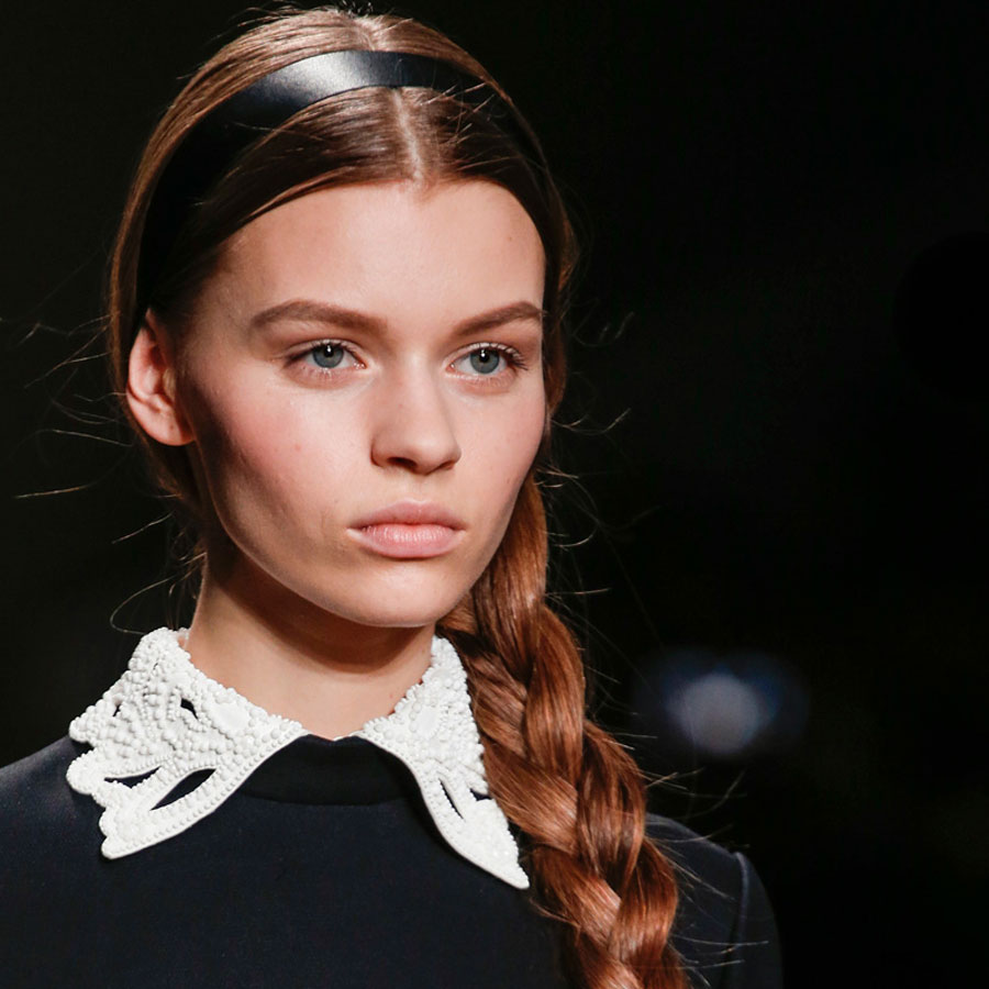 Fall Hairstyles Off the Runway I Valentino Side Braid #FallHairstyles #Runway