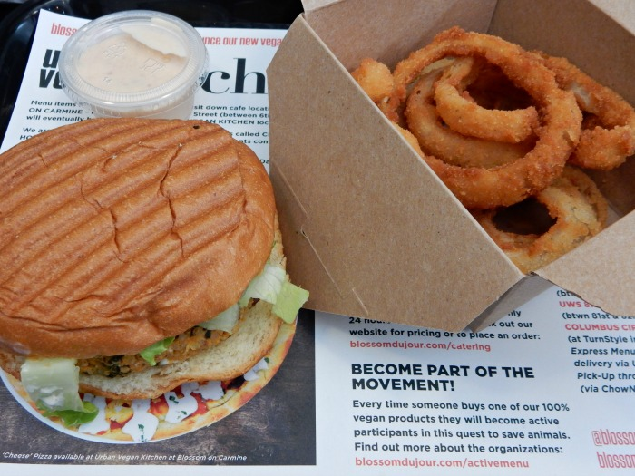 Blossom du Jour Vegan Burger and Onion Rings - NYC Food Diary