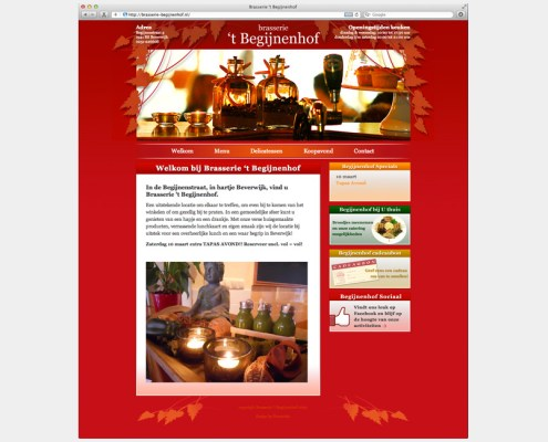 WordPress website Brasserie 't Begijnenhof