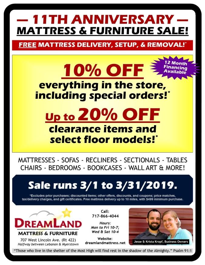 11th Anniversary Mattress Furniture Sale Dreamland Mattress Store Lebanon PA