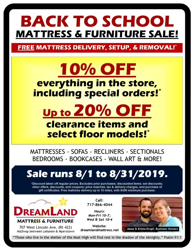 Back To School Mattress Furniture Sale at Dreamland Mattress Store in Lebanon PA