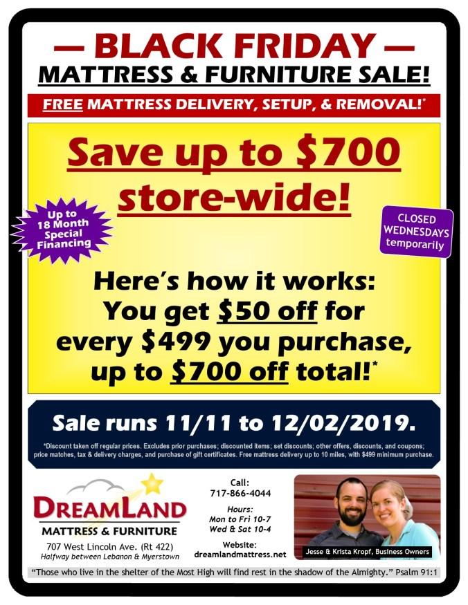 Black Friday Mattress & Furniture Sale at Dreamland Mattress Store in Lebanon PA