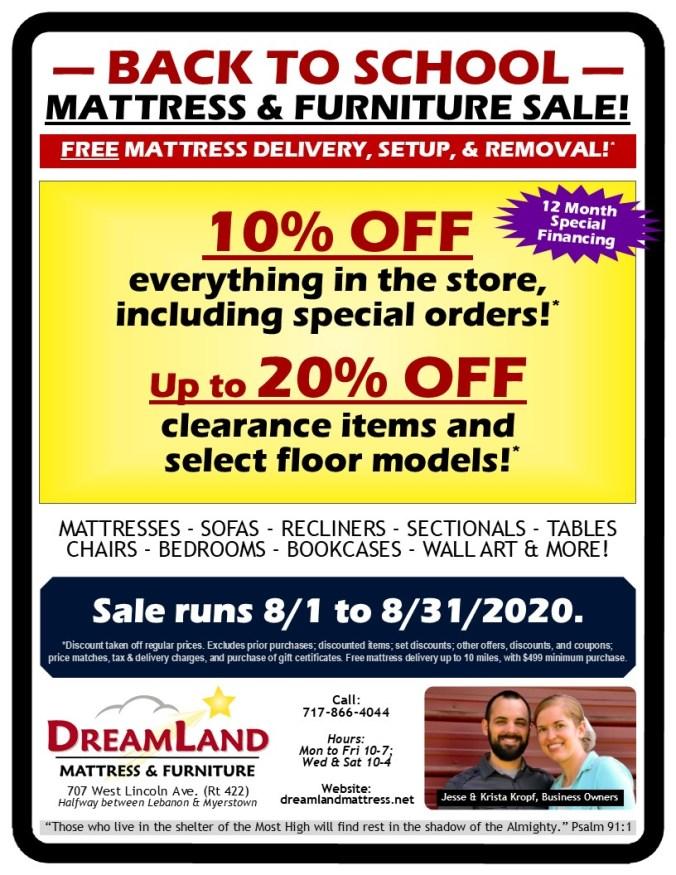 Back To School Mattress Furniture Sale Dreamland Mattress Store Lebanon PA 2020