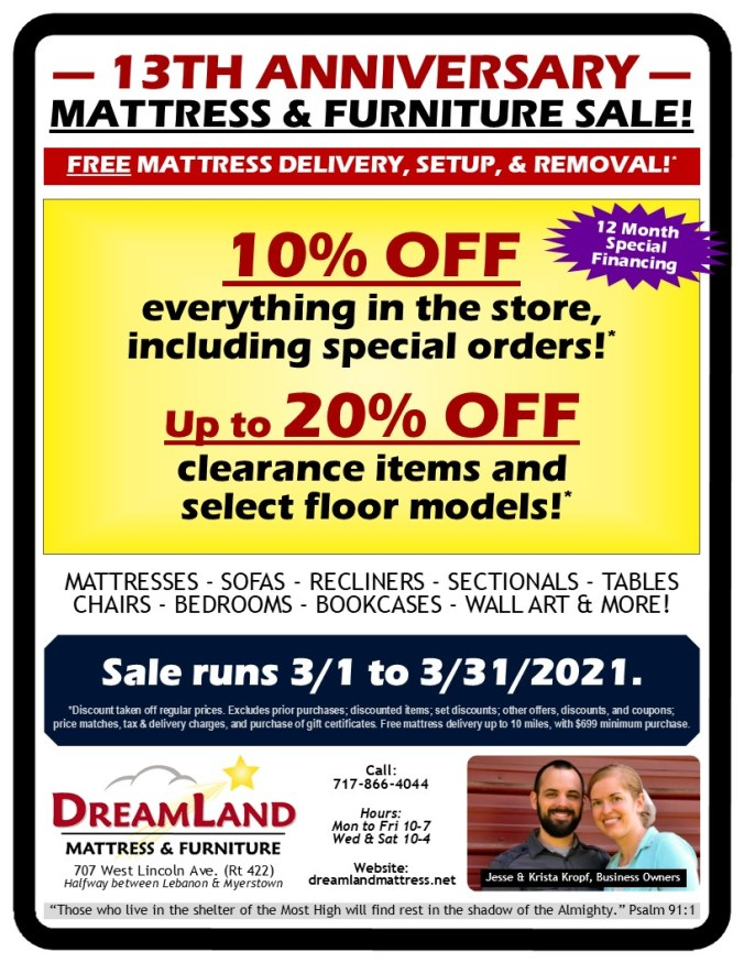 13th Anniversary Mattress Furniture Sale Dreamland Mattress Store Lebanon PA 2021
