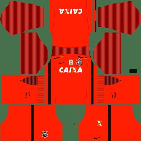 Kit corinthians dls17 uniforme goleiro casa
