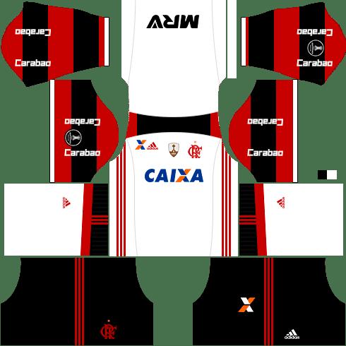 kit flamengo dls17 uniforme libertadores fora de casa