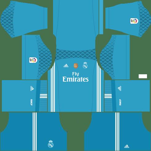 kit real madrid dls17 uniforme goleiro casa 16-17