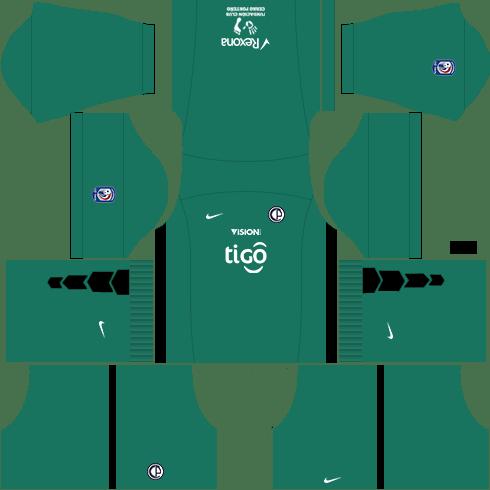 Kit dls17 cerro porteño uniforme goleiro fora de casa 15-16