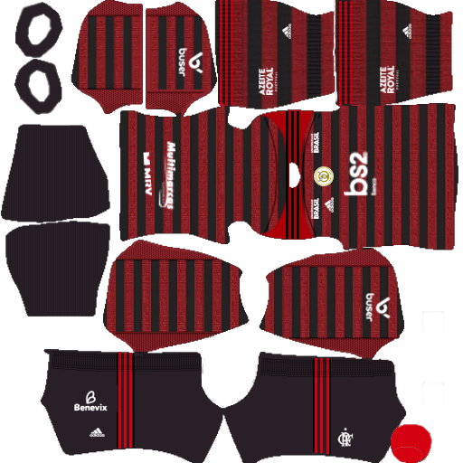 kit flamengo dls20 home uniforme casa 19-20 2ª opção