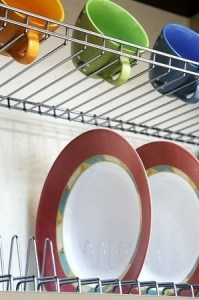 Open storage is a great solution for dishware and to maximize space