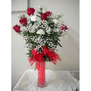 MDS09 Six Roses with Carnations Vase-500x500