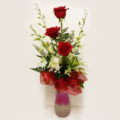 Dream Makers Florist Barbados Orchids & Roses in a Vase