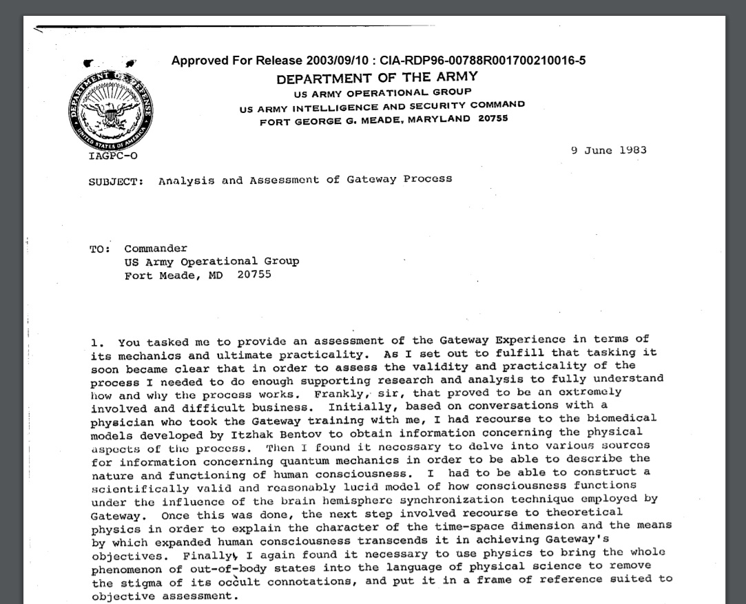 CIA Document on Astral Projection