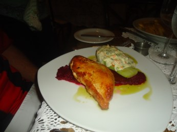 Roasted Chicken Breast on a beet sauce with xuxu