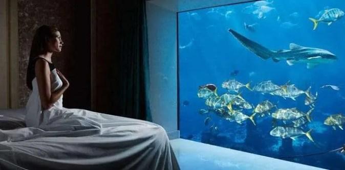 Underwater hotel room in Dubai, UAE.