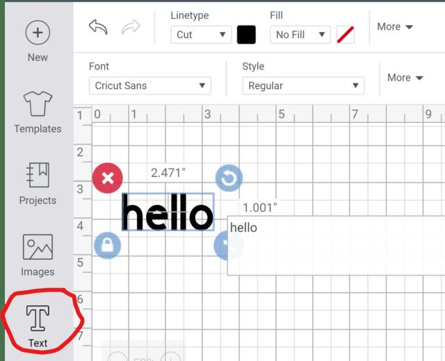 Text Type Tool Cricut Design Space