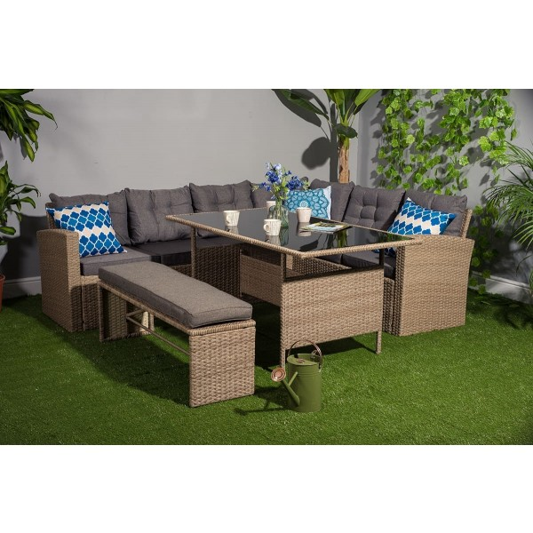 Yakoe 10 Seater Garden Dining Set And Bench One Dreams