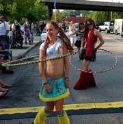 At the Lexington Ave. Arts and Fun Festival in 2007, Megan and Leslie Abernathy (sisters) hula-hoop.  At the Lexington Ave. Arts and Fun Festival in 2007, Megan and Leslie Abernathy (sisters) hula-hoop. (Paul Balicky/special to the Citizen-Times)