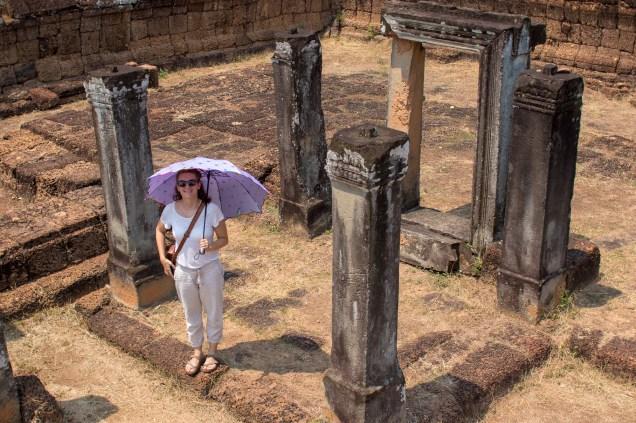 Katja with Umbrella in Angkor