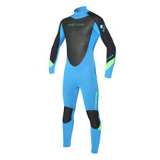C-SKINS WETSUIT JUNIOR Surflite 5x4x3 Steamer Cyan Black Flo Green - MS
