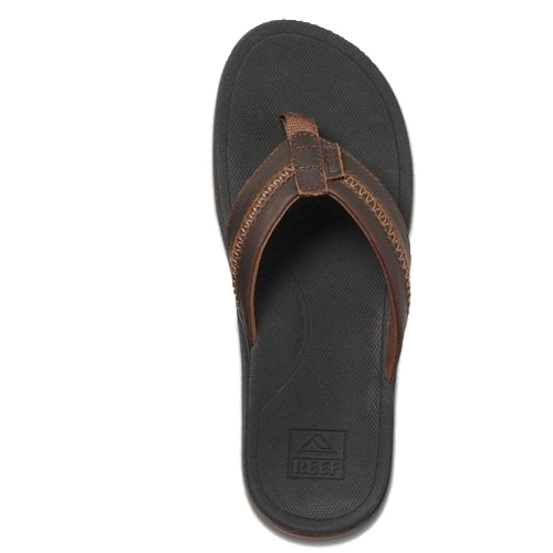 Reef Slippers Leather Ortho-Bounce Coast Black Brown