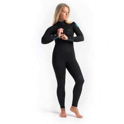 C-Skins Surflite 4x3 Womens Steamer Black Caribbean Blue