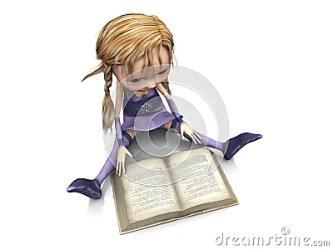 Monster Designs: cartoon girl reading book
