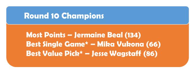 Round 10 Champions