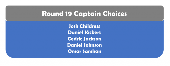 Round 19 Captains