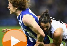 MELBOURNE, AUSTRALIA - AUGUST 05:  Brodie Grundy of the Magpies tackles Ben Brown of the Kangaroos during the round 20 AFL match between the North Melbourne Kangaroos and the Collingwood Magpies at Etihad Stadium on August 5, 2017 in Melbourne, Australia.  (Photo by Quinn Rooney/Getty Images/AFL Media)