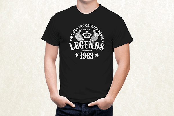 All Men are Created Equal But Only Legends are Born in 1963 T-shirt
