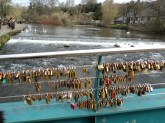 View from a foot bridge in Bakewell town..