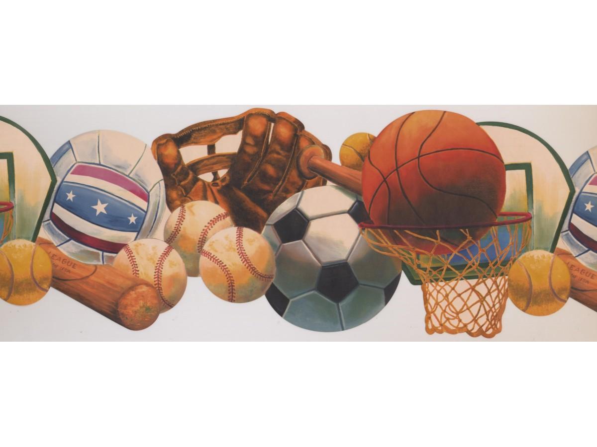 "HOCKEY SOCCER FOOTBALL /& BASEBALL10 1//4/"" WIDE SPORTS Wallpaper bordeR Wall"