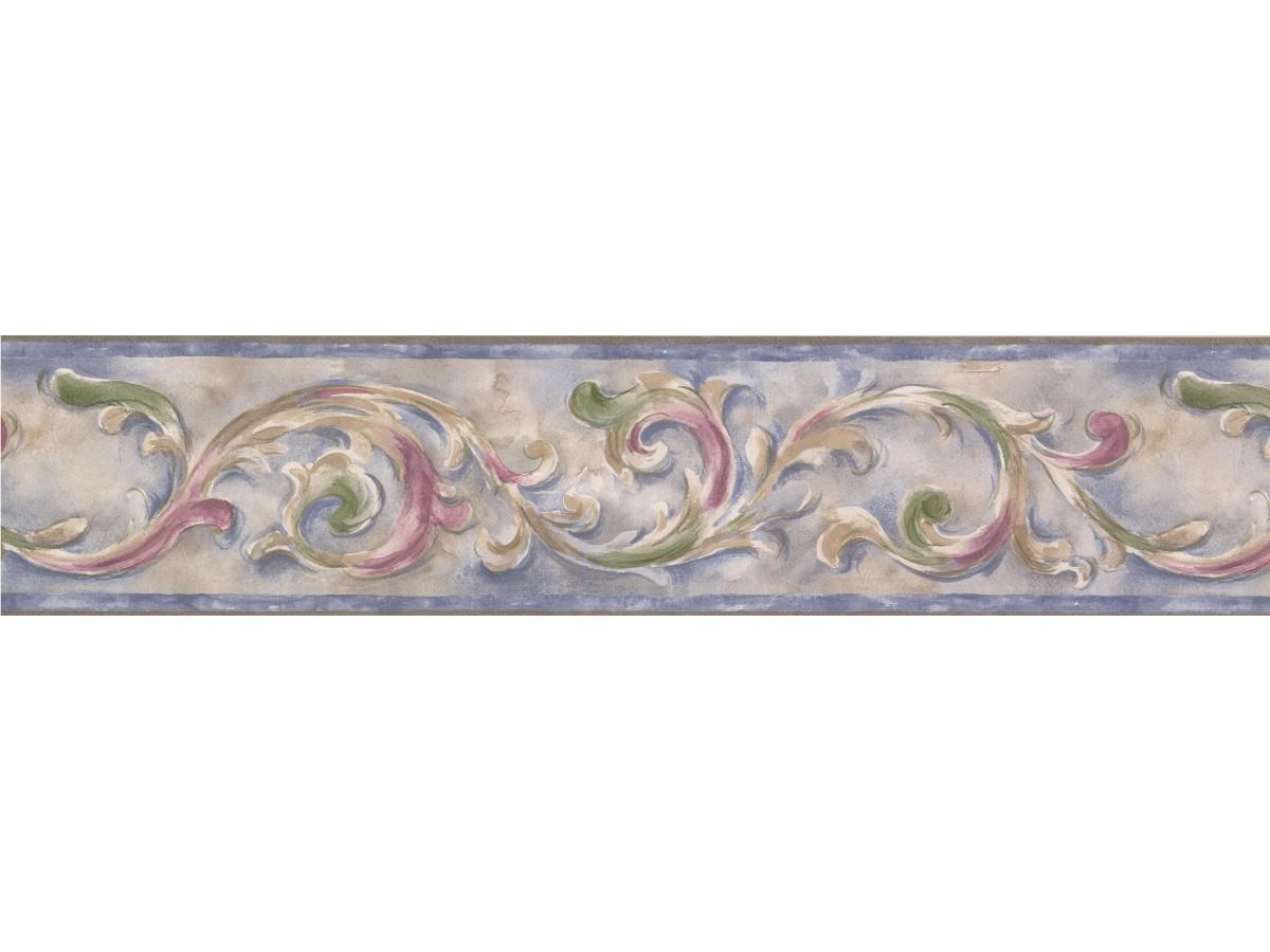 Blue Running Floral Wallpaper Border