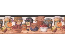 wall paper borders for kitchens stainless steel kitchen trash cans fruits jars wallpaper border 007192bp
