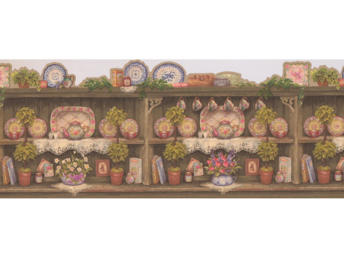 wall paper borders for kitchens kitchen double doors taupe scalloped china dishes wallpaper border