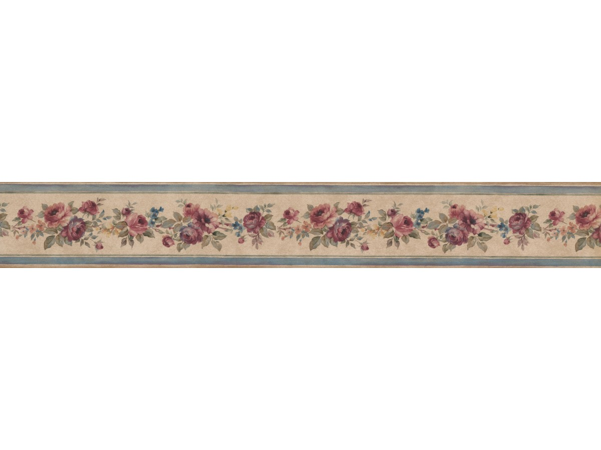 Narrow Floral Rose Wallpaper Border