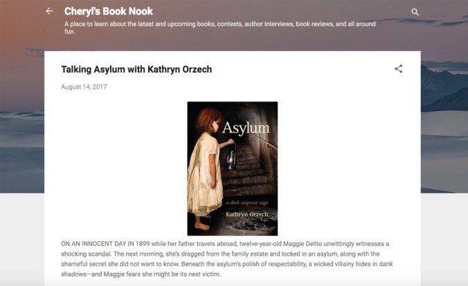 Asylum Review at Cheryl's Book Nook