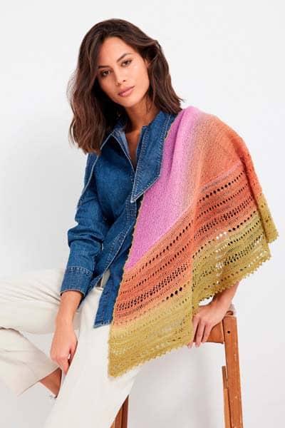 Lana Grossa Cool Wool Lace Hand Dyed Open Work Shawl Pattern, Dream Weaver Yarns LLC