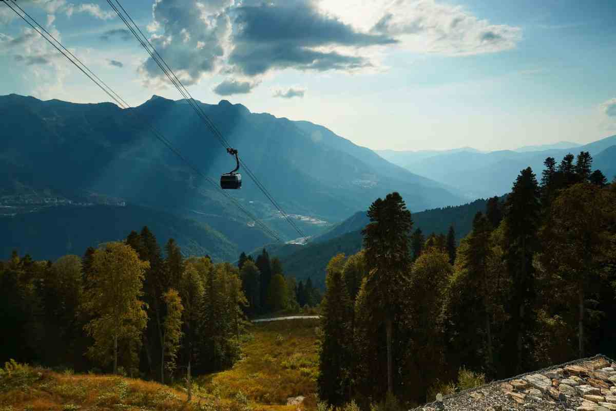 cable car over green forested hills - live your life with intention